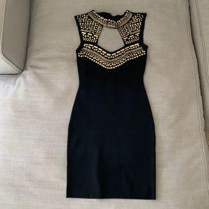 bebe Dresses - Bebe Embellished Bandage Dress, black/gold Size S